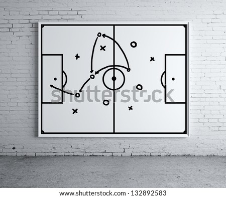 drawing tactic scheme at frame on brick wall - stock photo