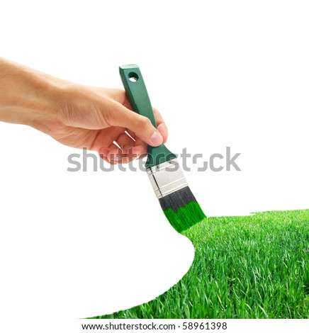Drawing the green grass. Element of design. - stock photo
