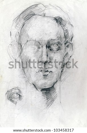 Drawing. The head of my own imagination, not to any particular person. Pencil technique. - stock photo