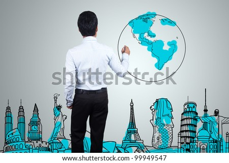 Drawing the travel on a whiteboard. - stock photo