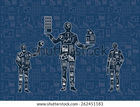 drawing three businessman with business icons on wall - stock photo