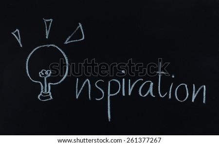 drawing word inspiration and light bulb on blackboard - stock photo