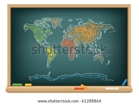 Drawing world map by a chalk on the classroom blackboard - stock photo