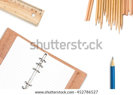 Drawings and design tools with leather organiser note book isolated on white background - stock photo