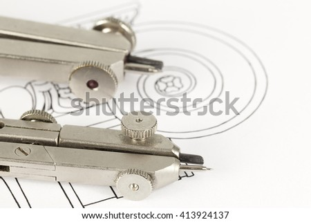 drawings of architectural details - columns element, and tools - compasses - stock photo
