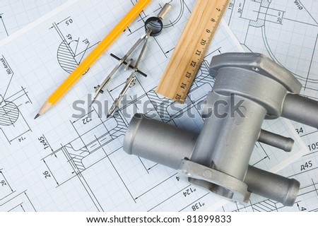drawings of mechanisms with parts and tools - stock photo