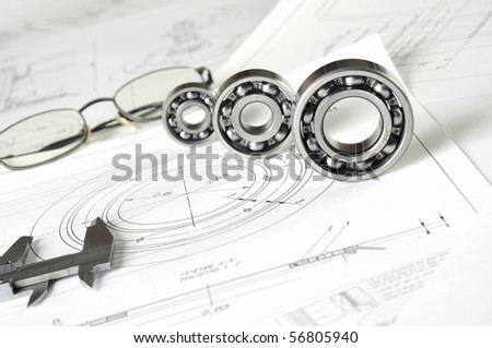 Drawings of the engineer of mechanical engineering. - stock photo