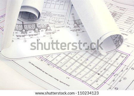 Drawings projects - stock photo