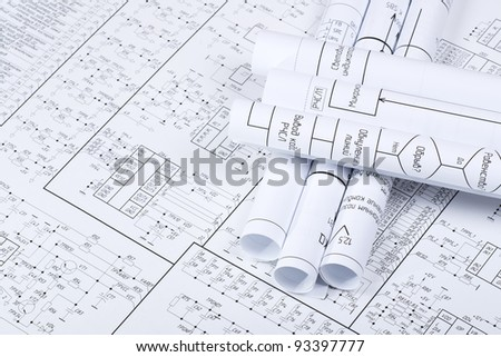 Drawings rolled in a tube crosswise - stock photo