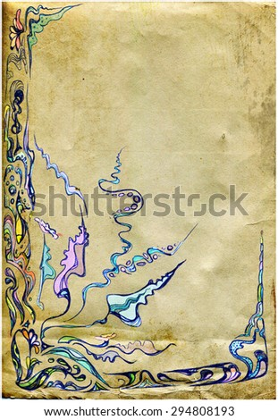 Drawn background with artistic floral pattern and texture - stock photo