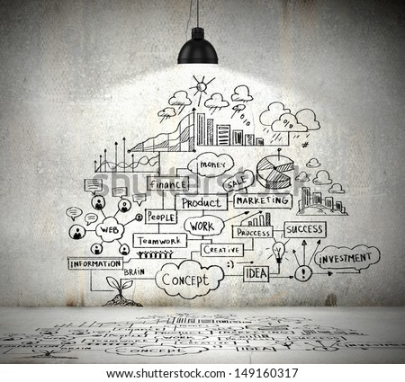 Drawn business plan on wall illuminated by lamp above - stock photo