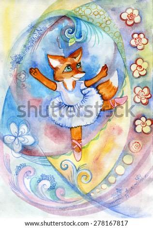 Drawn fox animal - stock photo