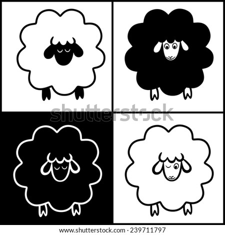 drawn funny lamb is the symbol of new year 2015 - stock photo