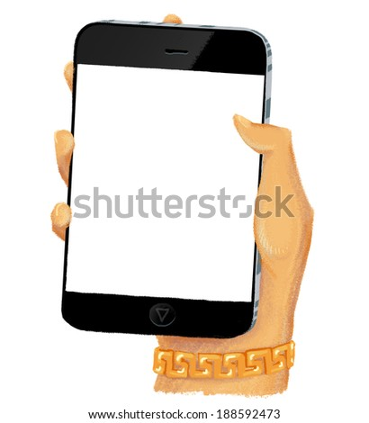 Drawn hand holding smartphone with empty screen and with green case - stock photo