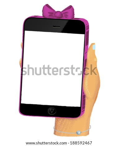 Drawn hand holding smartphone with empty screen and with pink case - stock photo