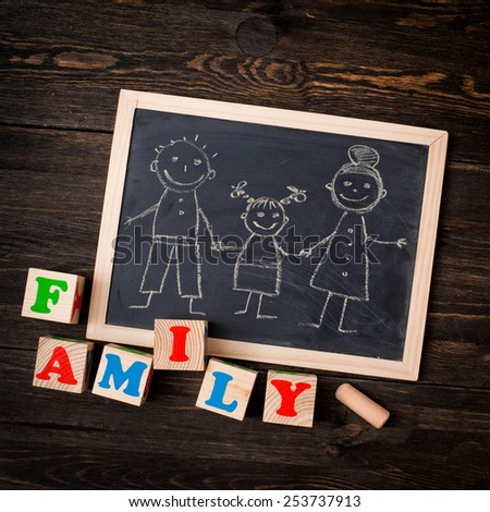 drawn on a chalkboard family - stock photo