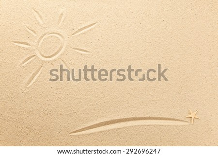 Drawn sun and underline in the sand - stock photo