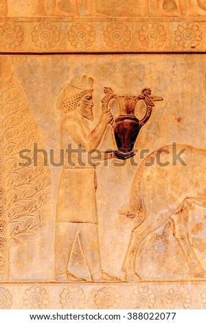 Draws on the walls of the ancient city of Persepolis, Iran. UNESCO World heritage site - stock photo