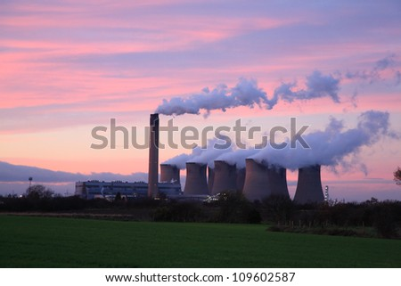 Drax Power Station at sunset, Selby North Yorkshire England - stock photo