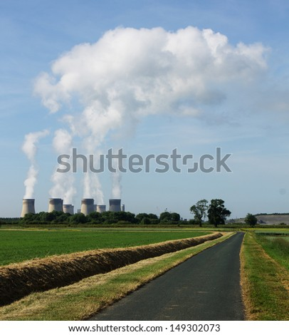 Drax power station, East Yorkshire England, which uses bio-mass fuel to produce electricity - stock photo