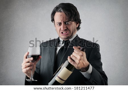 dreadful wine - stock photo