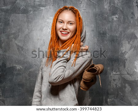 Dreadlocks woman red hair hipster portrait - stock photo