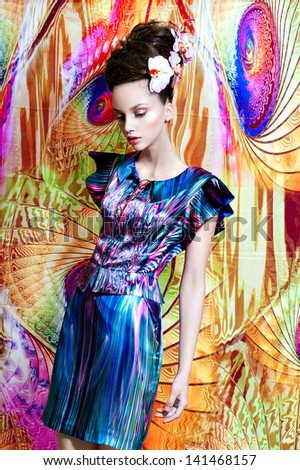 Dream color fashion women stay on seamless pattern background - stock photo