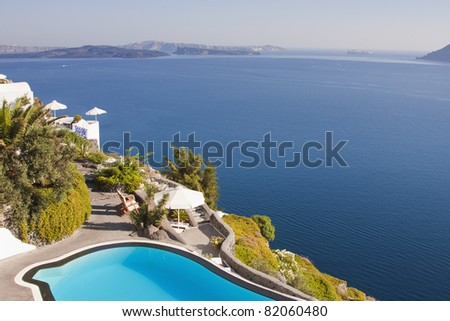 Dream house set on a hill overlooking the sea. - stock photo