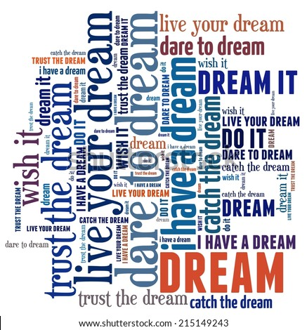 Dream in word collage - stock photo