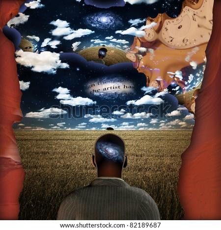 Dream Mind represents man dreaming - stock photo