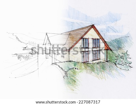 Dream of an architect. Study of a family house. - stock photo