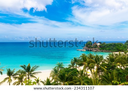 Dream scene. Beautiful palm trees above the white sand beach, the tropical sea . Summer view of nature. - stock photo