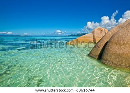 Dream seascape view with a huge stones, Seychelles, La Digue - stock photo