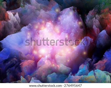Dream Surface series. Creative arrangement of  fractal clouds and graphic elements to act as complimentary graphic for subject of dreams, spirituality and imagination - stock photo