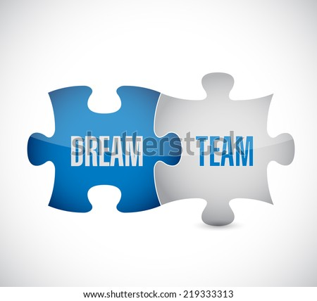 dream team puzzle pieces illustration design over a white background - stock photo