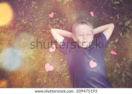 Dreaming boy. Instagram effect - stock photo