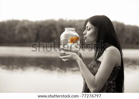 dreaming girl - stock photo