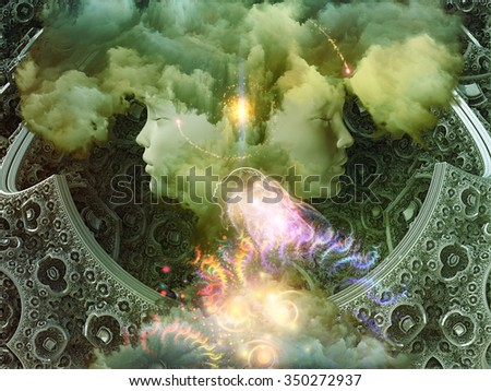 Dreaming Intellect series. Backdrop design of human face and technological elements to provide supporting composition for works on mind, reason, intelligence and imagination - stock photo