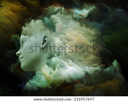 Dreaming Intellect series. Creative arrangement of human face and technological elements as a concept metaphor on subject of mind, reason, intelligence and imagination - stock photo