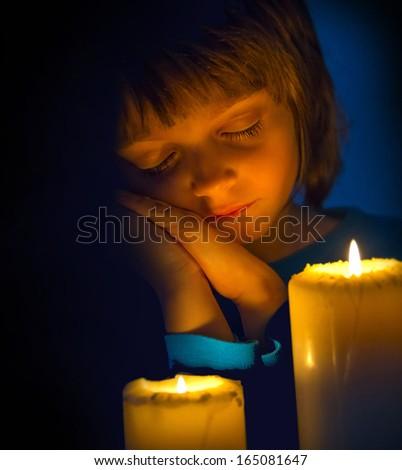 dreaming little girl - christmas concept - stock photo