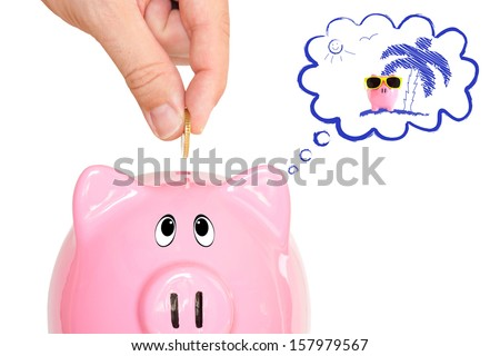 Dreaming piggy bank - stock photo