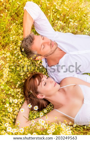 dreaming two person closed eyes romantical - stock photo
