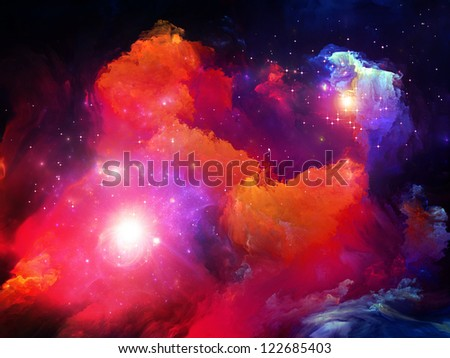 Dreamscape Series. Backdrop of colorful fractal paint and lights on the subject of art, abstraction and creativity - stock photo