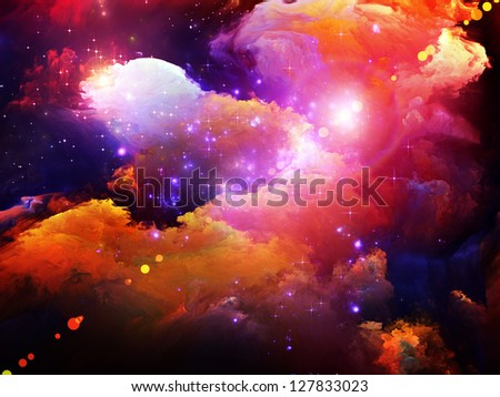 Dreamscape Series. Composition of colorful fractal paint and lights suitable as a backdrop for the projects on art, abstraction and creativity - stock photo