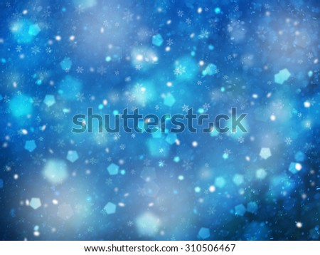 Dreamy blue colored snowfall Christmas and New Year illustration background. Beautiful blue color Christmas and New Year Holiday greeting card with place for message. - stock photo