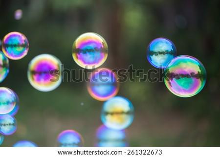 dreamy soap bubbles - stock photo
