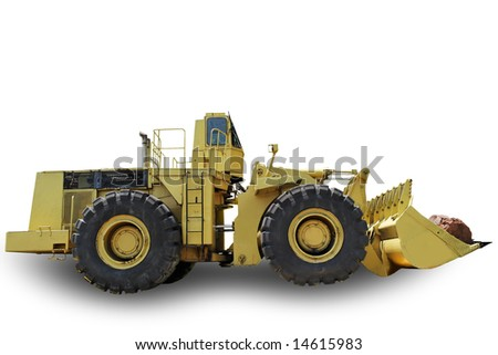 Dredger with shadow isolated on white background - stock photo