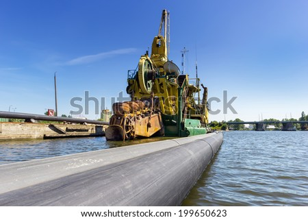 Dredging the port of Gdansk, Poland - stock photo
