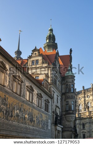 Dresden Castle and Fuerstenzug (Procession of Princes) - giant mural in Dresden, Germany - stock photo