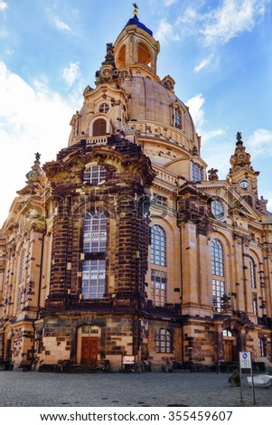 Dresden Frauenkirche (Church of Our Lady) is a Lutheran church in Dresden. Saxony, Germany. - stock photo